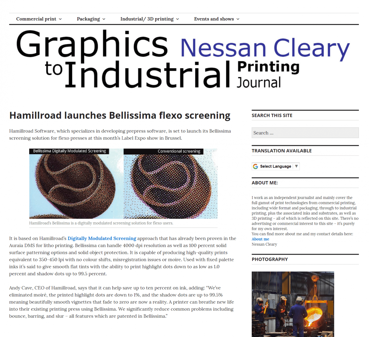 Nessan Cleary - Bellissima Flexo Screening Ultra HD printing